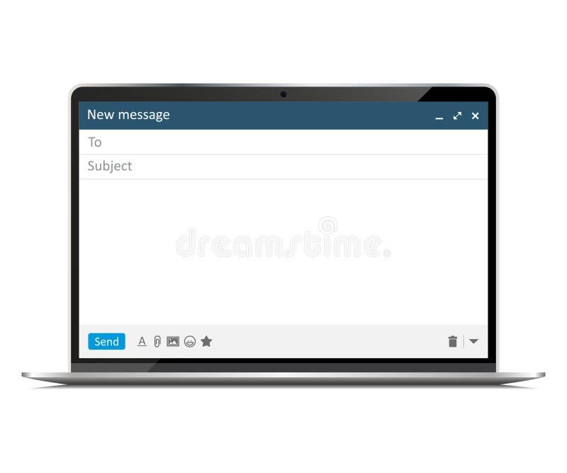 Nowy laptop z emaila poj?cia okno interfejsem ilustracja wektor