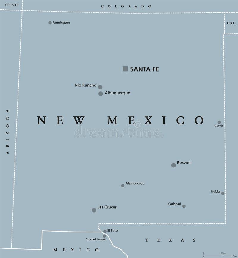 Nowy - Mexico Stany Zjednoczone polityczna mapa ilustracja wektor