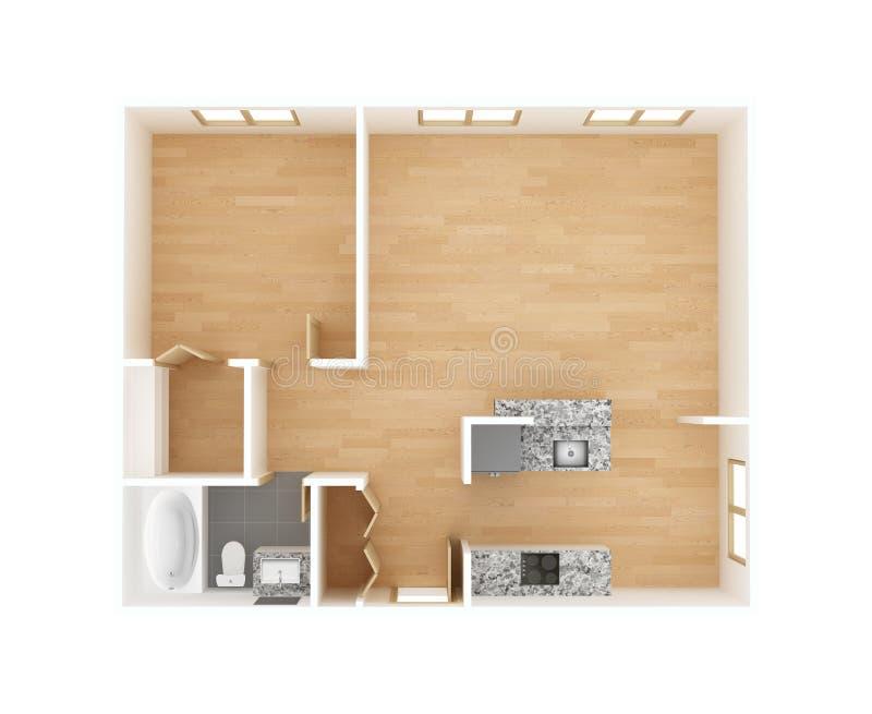Nowy mieszkanie podłogowego planu odgórny widok zdjęcia stock