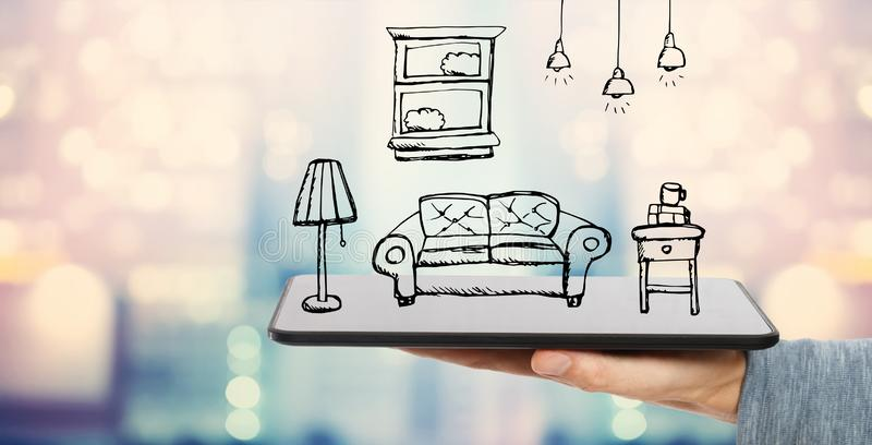 Nowy mieszkanie sen z pastylka komputerem ilustracji