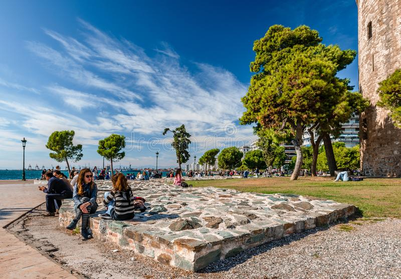 Nowy nabrzeże deptak w Saloniki, Grecja fotografia stock