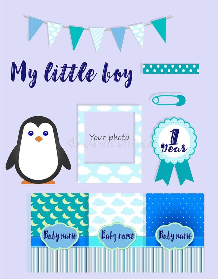 Nowy narodziny przyjęcie Collectionflat ikony dla dziecka ` s metryka ilustracja wektor