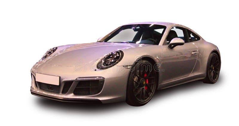 Nowy Niemiecki luksusowy sporta samochód Biały tło zdjęcia royalty free