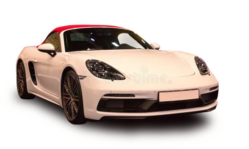 Nowy Niemiecki luksusowy sporta samochód Biały tło zdjęcia stock