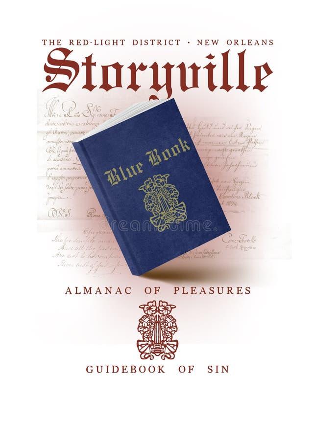 Nowy Orlean kultury Storyville Inkasowa Błękitna książka ilustracja wektor