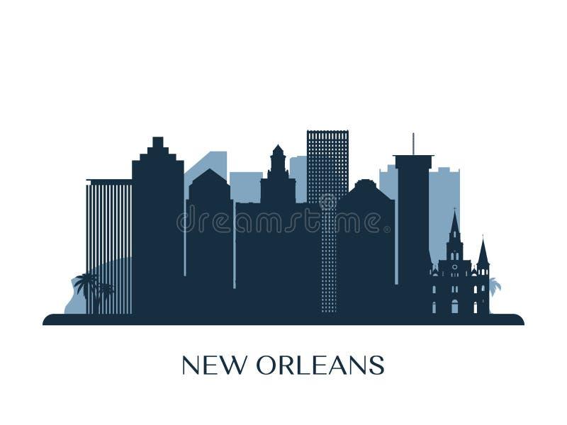 Nowy Orlean linia horyzontu, monochromatyczna sylwetka royalty ilustracja
