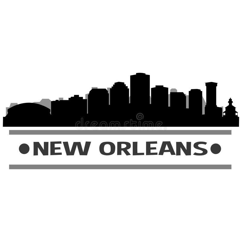 Nowy Orlean linii horyzontu miasta ikony sztuki Wektorowy projekt royalty ilustracja