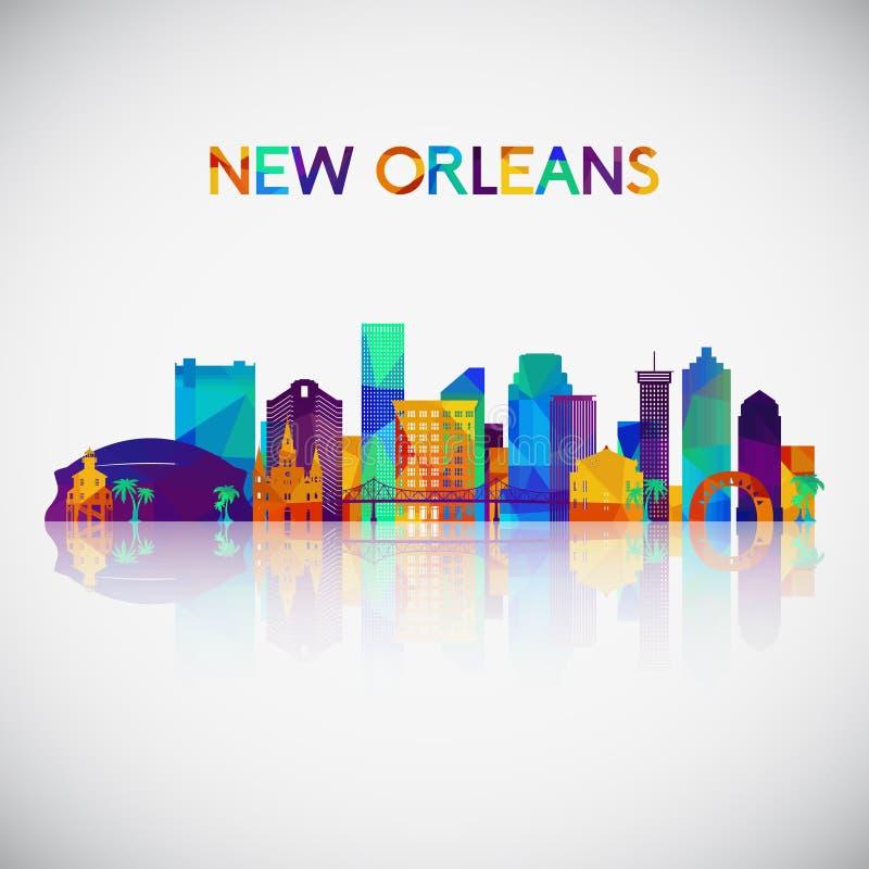 Nowy Orlean linii horyzontu sylwetka w kolorowym geometrycznym stylu ilustracja wektor