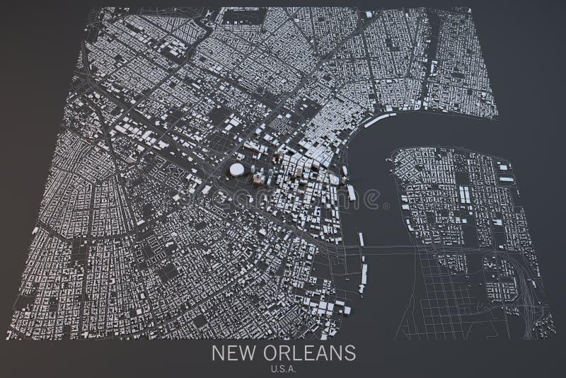 Nowy Orlean mapa, satelitarny widok, Stany Zjednoczone royalty ilustracja