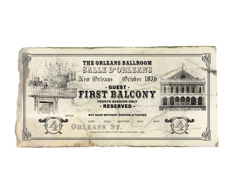 Nowy Orlean Orleans teatru opery bilet obraz royalty free