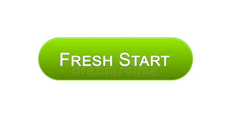Nowy początek sieci interfejsu guzika zielony kolor, biznesowa innowacja, miejsce projekt royalty ilustracja