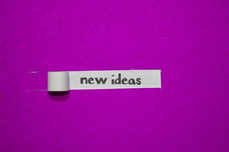 Nowy pomysłów, inspiracji, motywacji i biznesu pojęcie na purpura drzejącym papierze, fotografia royalty free