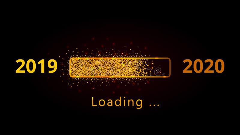 2020 nowy rok ładuje złotego błyskotliwość postępu baru z czerwienią błyska odosobnionego na czarnym tle royalty ilustracja