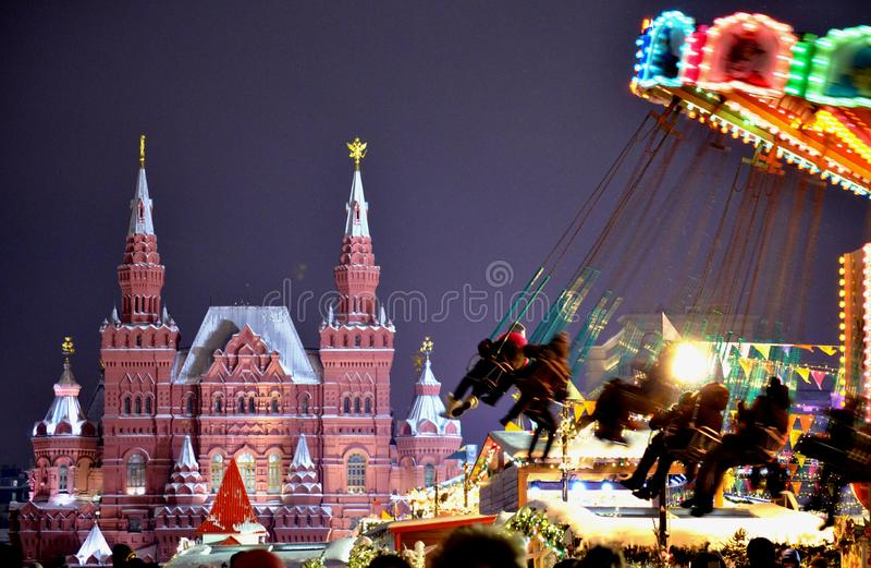 Nowy Rok ?wi?towania na placu czerwonym fotografia royalty free