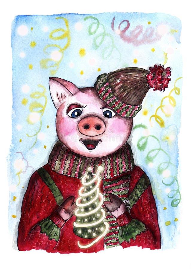 Nowy rok świni pocztówka royalty ilustracja