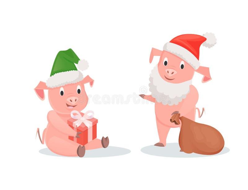 Nowy Rok świnie w Santa kapeluszach, prezenta pudełku i worku, royalty ilustracja