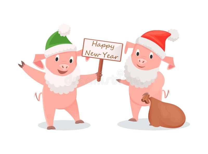 Nowy Rok świnie w Santa kostiumu z prezenta workiem royalty ilustracja