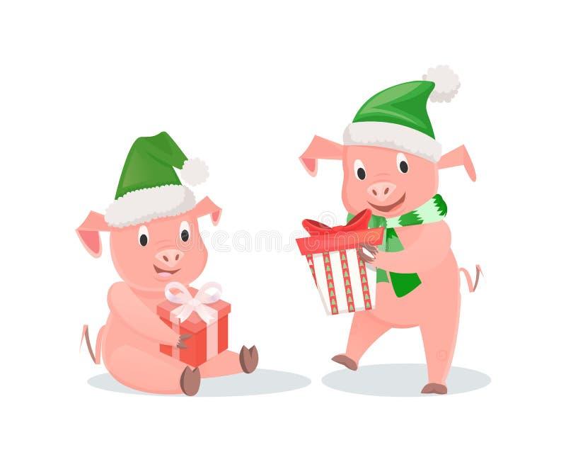 Nowy Rok świnie z prezentów pudełkami w kapeluszu i szaliku ilustracji