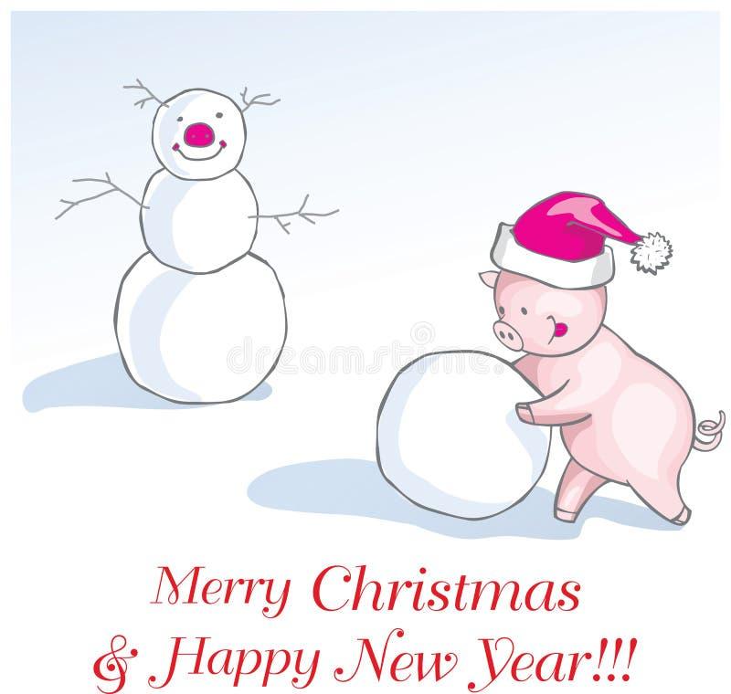 Nowy rok świniowaty kartka z pozdrowieniami z ślicznym kreskówka prosiaczkiem w fu ilustracja wektor