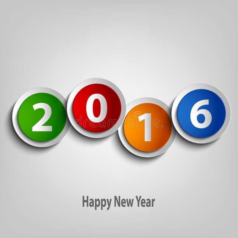 Nowy Rok życzenia z kolorowym abstraktem okrążają szablon ilustracja wektor