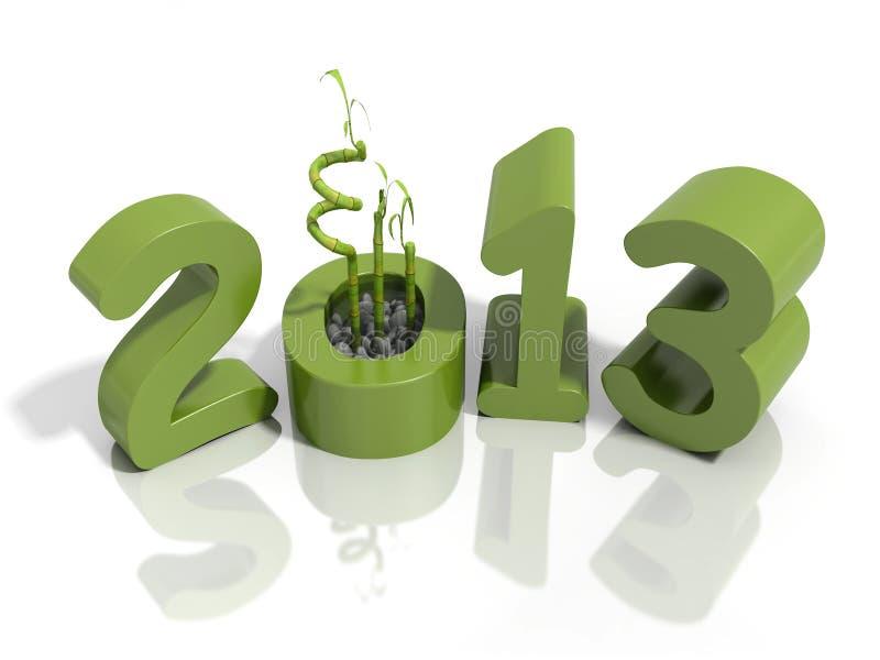 Nowy rok 2013 w zieleni liczbach z bambusem ilustracji