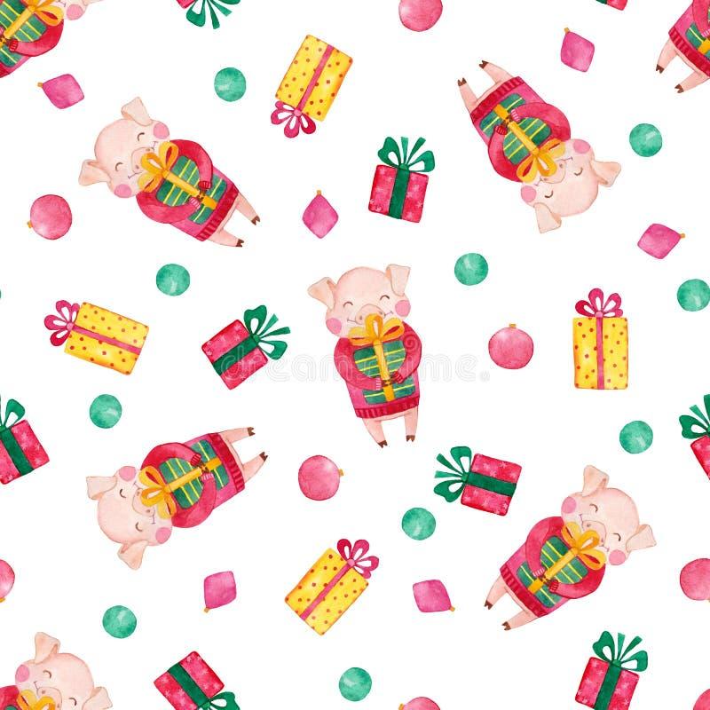 Nowy Rok akwareli bezszwowy wzór z ślicznymi świniami, Bożenarodzeniowymi prezentami i płatek śniegu, royalty ilustracja