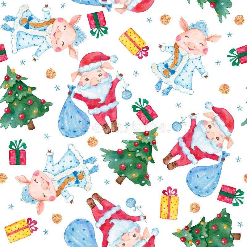 Nowy Rok akwareli bezszwowy wzór z ślicznymi świniami, choinkami i płatek śniegu, royalty ilustracja