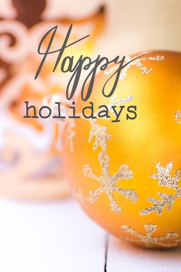 Nowy Rok boże narodzenie kartki z pozdrowieniami Jaskrawa żółta złota ornament piłka z lśnienia srebra płatka śnieżnym wzorem ani obrazy stock