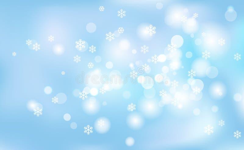 Nowy Rok, Bożenarodzeniowy chaotyczny plamy bokeh lekcy płatki śniegu na tła błękicie Wektorowa ilustracja dla projekta i dekorow royalty ilustracja