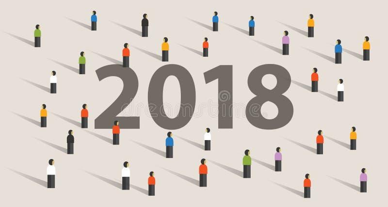 2018 nowy rok cel i postanowienie tłoczymy się patrzeć wpólnie wzrok ilustracja wektor