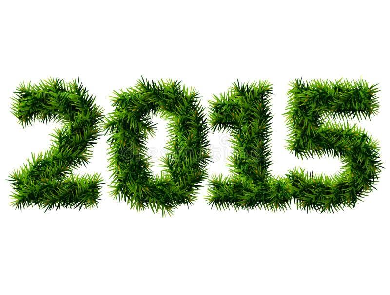 Nowy Rok 2015 choinek gałąź odizolowywać na bielu ilustracji