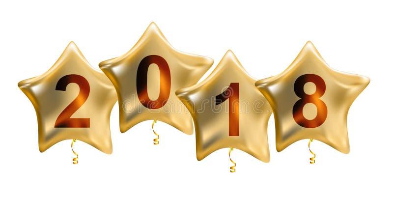2018 nowy rok Colour helu Glansowani balony Odizolowywający na Białym tle ilustracji