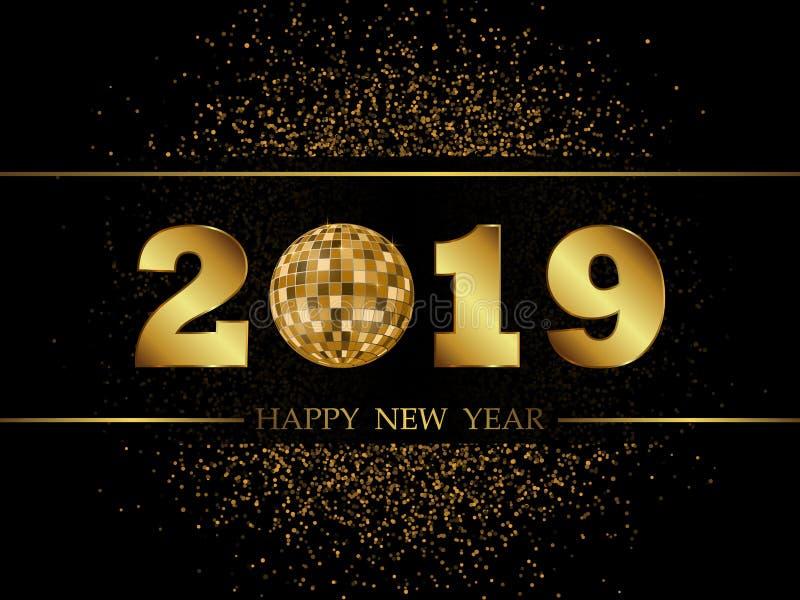 2019 nowy rok Czarny tło ilustracja wektor