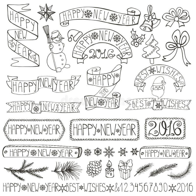 Nowy rok dekoraci etykietki, faborki, pisze list liniowy ilustracji