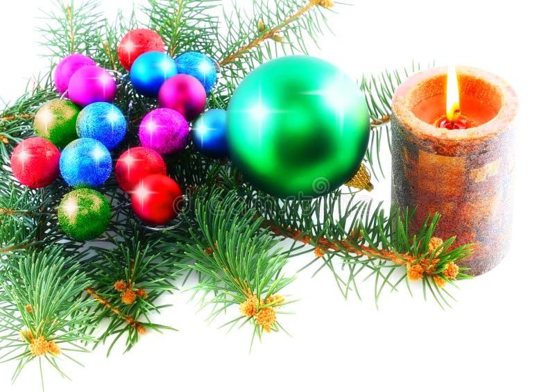 Nowy Rok dekoraci piłki, świecidełko, candels. obrazy royalty free