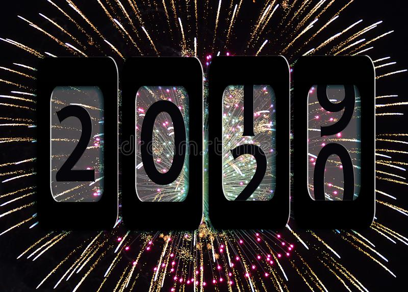 2020 nowy rok drogomierz w fajerwerkach zdjęcie stock