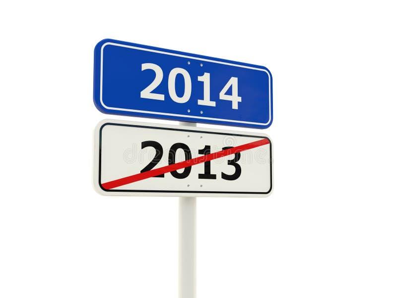 2014 nowy rok drogowy znak ilustracja wektor