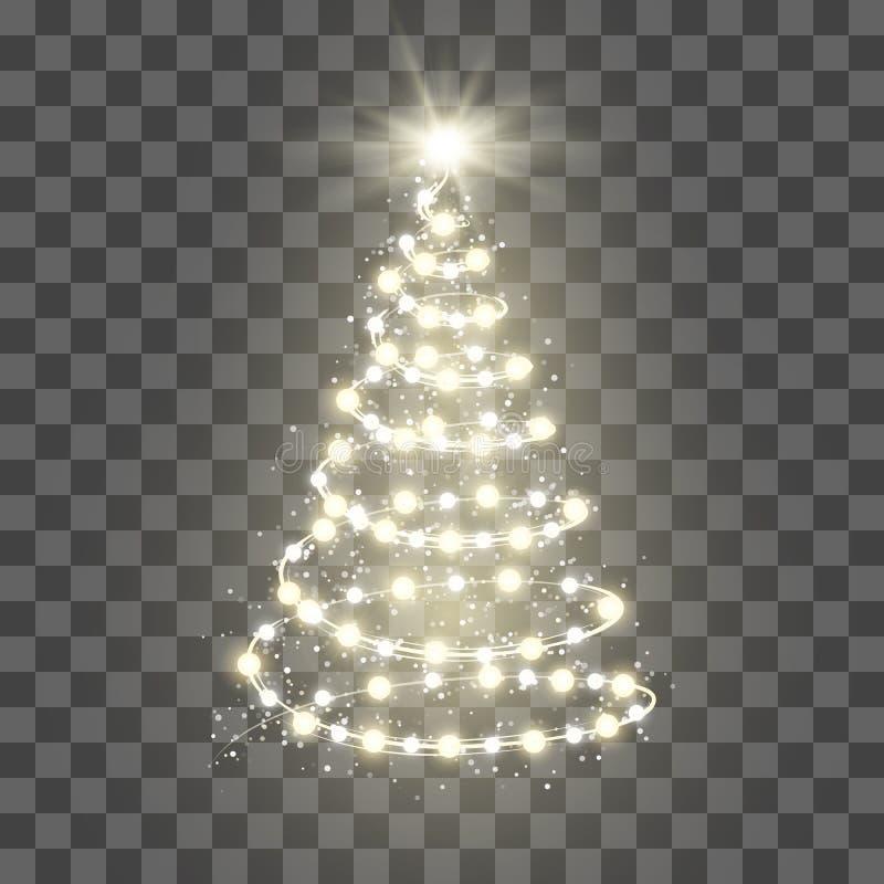 Nowy Rok Drzewna sylwetka robić bożonarodzeniowe światła na przejrzystym tle również zwrócić corel ilustracji wektora ilustracja wektor
