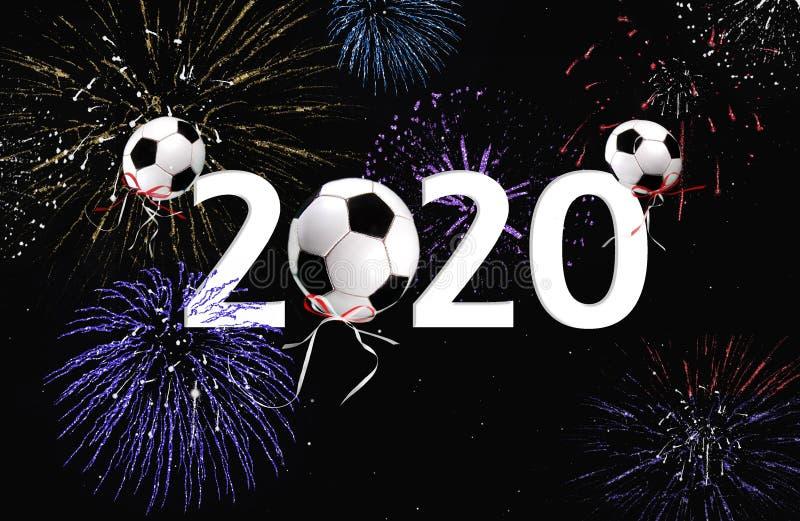 2020 nowy rok fajerwerków i piłki nożnej piłki balony zdjęcia stock