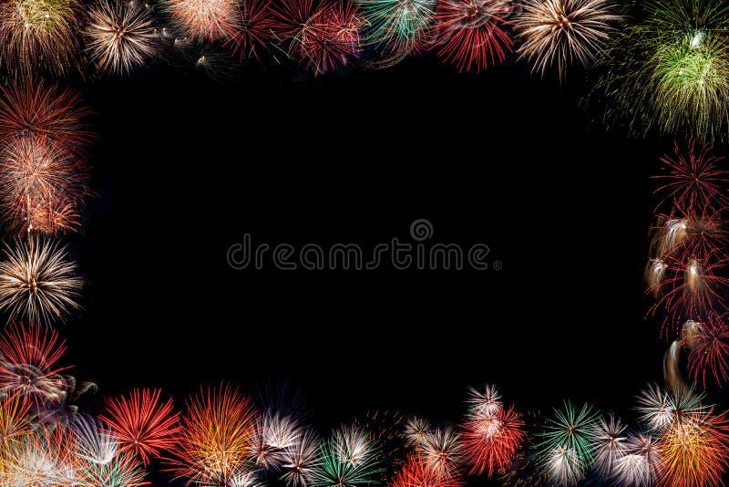 Nowy Rok fajerwerków Partyjny tło Z kopii przestrzenią fotografia stock
