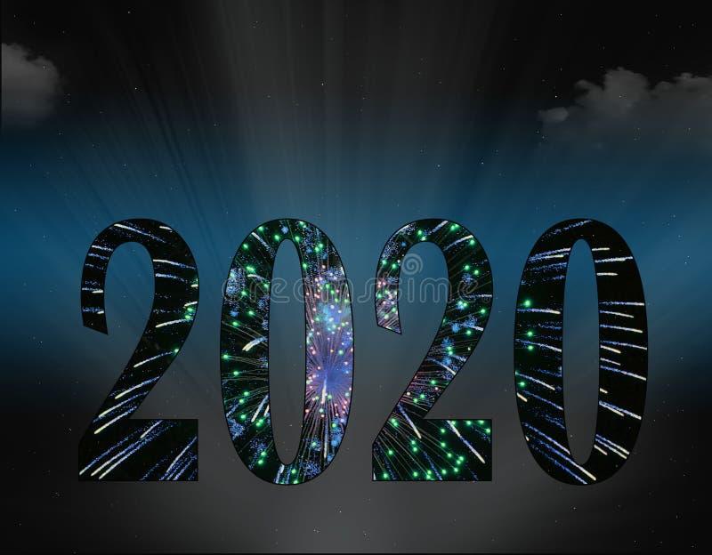 Nowy Rok fajerwerki dla 2020 fotografia royalty free