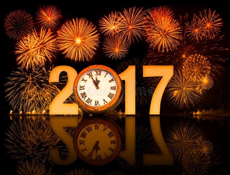 2017 nowy rok fajerwerki z zegarową twarzą obrazy royalty free