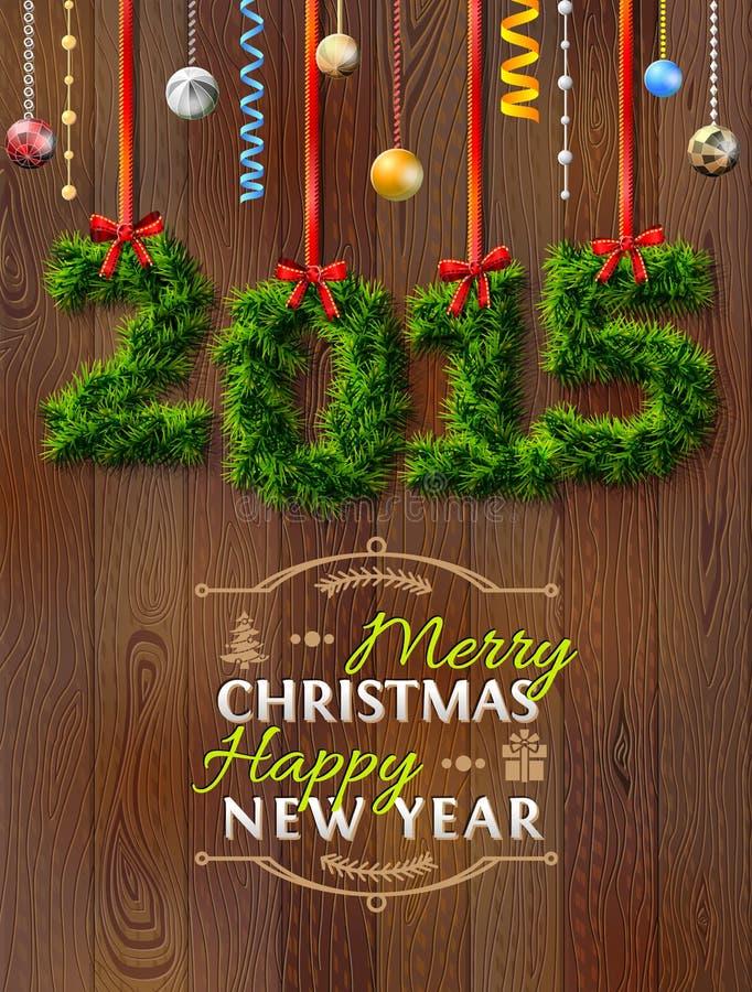 Nowy Rok 2015 gałązki jak boże narodzenie dekoracja ilustracji