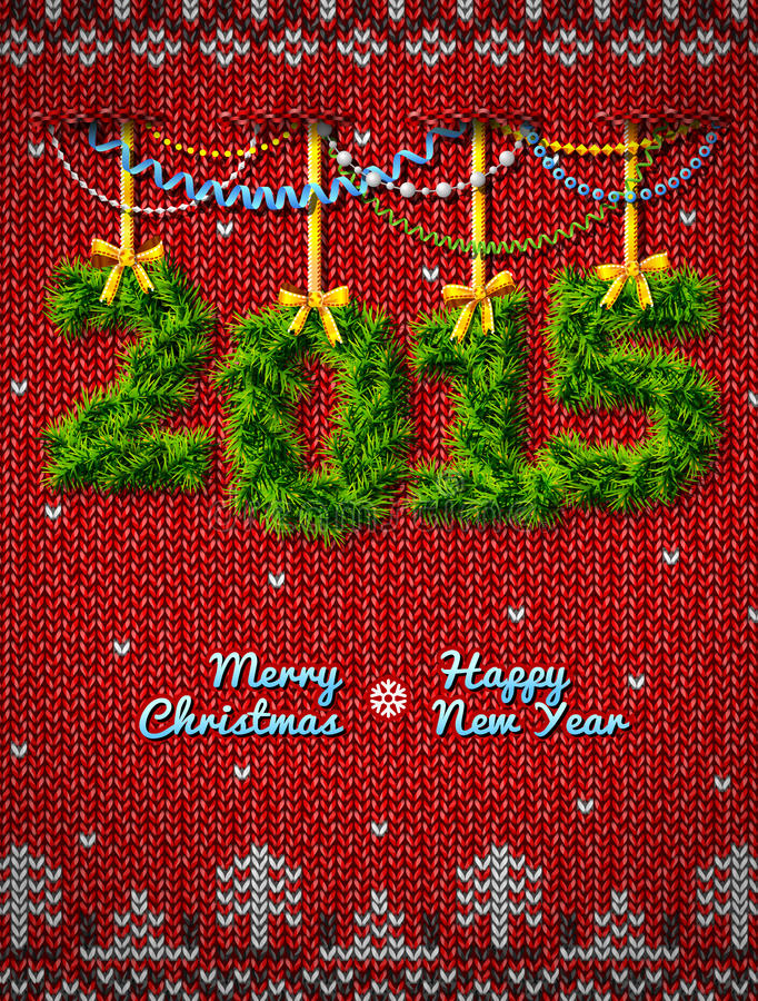 Nowy Rok 2015 gałązki jak boże narodzenie dekoracja ilustracja wektor