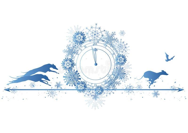 Nowy Rok granica z psami, krukiem i zegarem, ilustracji