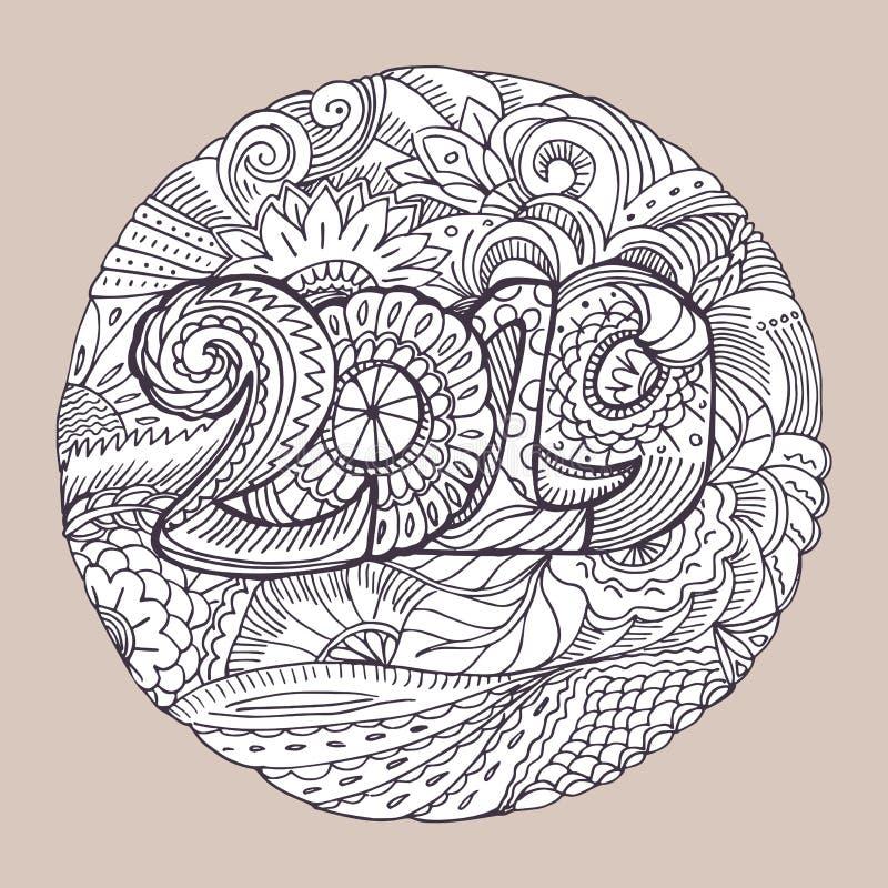 Nowy rok gratulacje karta z liczbami 2019 w zentangle inspirował styl Bożenarodzeniowy mandala Zen monochromu grafika royalty ilustracja