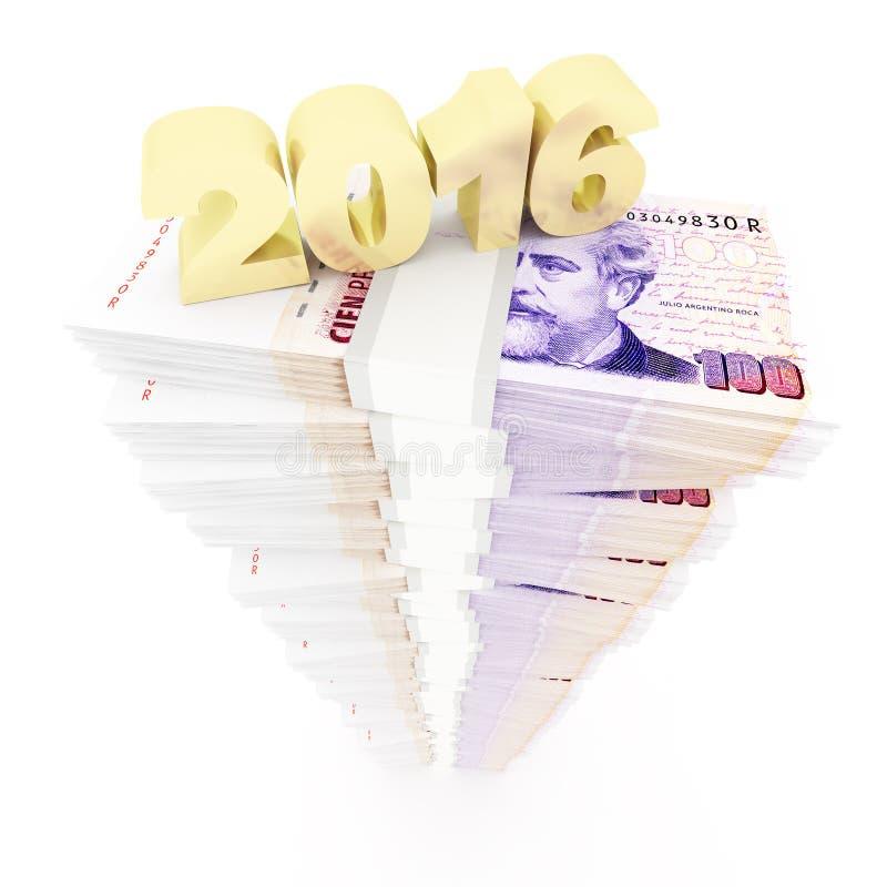 Nowy rok 2016 i Argentyńskiego peso sterta ilustracja wektor