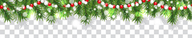 Nowy Rok i boże narodzenia graniczymy girlandę choinka koraliki na przejrzystym tle i gałąź Wakacje dekoracja wektor royalty ilustracja