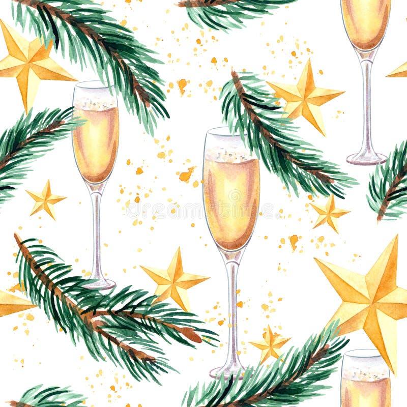 Nowy rok i Bożenarodzeniowy bezszwowy wzór z szampańskim szkłem, świerczyn Bożenarodzeniowymi gwiazdami, gałęziastymi i złotymi ilustracja wektor