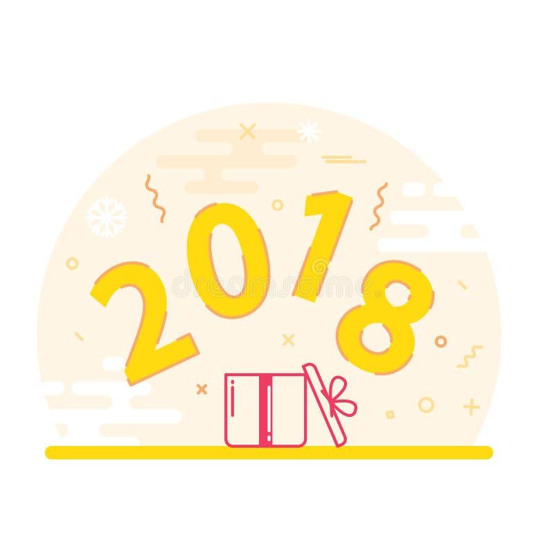 Nowy Rok 2018 i Bożenarodzeniowy mieszkanie linii projekt ilustracja wektor